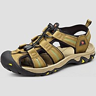 Camel Men's Sandals Outdoor Beach Shoes Cow Leather Wearproof Shoes Color Brown/Green