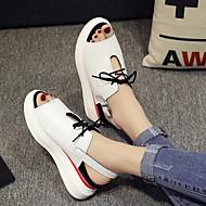 Для женщин На плокой подошве Удобная обувь Полотно Полиуретан Весна Повседневный Белый Черный Серебряный На плоской подошве