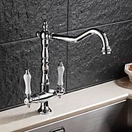 Moderne Art déco/Retro Modern Standard Spout Becken drehbar with  Keramisches Ventil Zwei Griffe Ein Loch for  Chrom , Armatur für die
