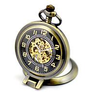 Men's Skeleton Watch Pocket Watch Mechanical Watch Quartz Mechanical manual-winding Stainless Steel Band Bronze