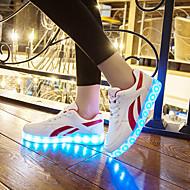 メンズ-ウェディング アウトドア オフィス ドレスシューズ カジュアル アスレチック パーティー-レザーレット-フラットヒール-ライト付きソール 靴を点灯-スニーカー-ブラック レッド