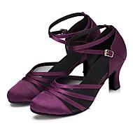 Chaussures de danse(Noir Violet) -Personnalisables-Talon Personnalisé-Satin-Modernes