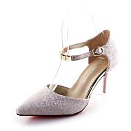 Női Magassarkúak Kényelmes PU Tavasz Hétköznapi Kényelmes Strasszkő Csat Stiletto Arany Fehér Rózsaszín 2 inch-2 3 / 4 inch