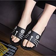 Feminino-Chinelos e flip-flops-Chanel-Rasteiro-Branco Preto-Borracha-Casual