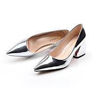 Mokasyny i pantofle-Damskie-Comfort-Gruby obcas-Gold Silver Dark Grey-Skóra patentowa-Casual