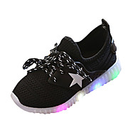 Boys' Athletic Shoes Comfort PU Spring Summer Athletic Casual Comfort Lace-up LED Flat Heel Black Blue Blushing Pink Flat