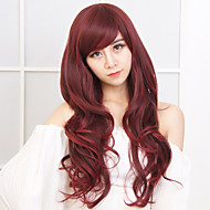 New Arrival Red Color Long Wave Women Wig Heat Resisting Syntheitc Wig