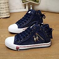 Damen-Flache Schuhe-Lässig-Leinwand PUKomfort-Dunkelblau Grün Blau