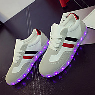 Sneakers-Kunstlæder-Lysende såler Light Up Sko-Damer-Hvid Sort-Bryllup Udendørs Kontor Formelt Fritid Sport Fest/aften-Flad hæl