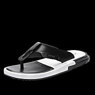 Masculino Chinelos e flip-flops Conforto Lona Primavera Casual Branco Preto Rasteiro