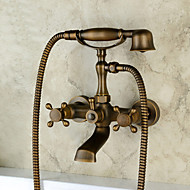 Antique Traditional Country Wall Mounted Widespread Handshower Included with  Ceramic Valve Three Handles Two Holes for  Antique Copper Tub Faucet