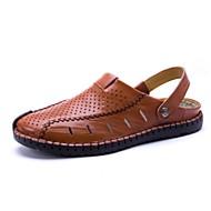 Masculino-Sandálias-Conforto-Rasteiro--Pele-Ar-Livre Casual