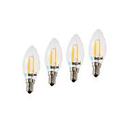 4W E14 Izzószálas LED lámpák C35 4 COB 377 lm Meleg fehér Hideg fehér Állítható AC 220 V 4 db.