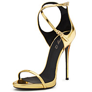 Women's Gold Shiny Patent Leather Cross-tied High Heel Sandals Ladies Mirror Metallic Gold Covered Heel Summer Shoes Plus Size