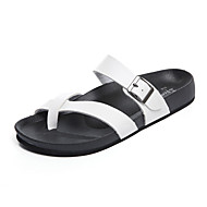 Men's Sandals Spring Summer Comfort PU Casual Flat Heel Buckle Black White