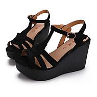 Sandály-Kůže-Creepers-Dámské--Běžné-Klín