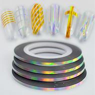50pcs / box 2mm 20m mote regnbue musserende folie stripende tape linje nagel kunst DIY skjønnhet laser sølv glitter folie striping tape