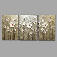 Håndmalt oljemaleri moderne knivblomst 3 stk / sett vegg kunst med strukket innrammet klar til å henge