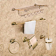 Neoclassical Bathroom Accessory Set 5PCS Antique Brass Towel Shelf Towel BarTowel RingPaper HolderBrush and Holder