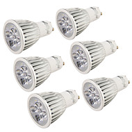 Youoklight® 6pcs gu10 5w 400-450lm 3000k / 6000k 5-high power led spotlight lâmpada bulbo (ac110-120v / 220-240v) -silver