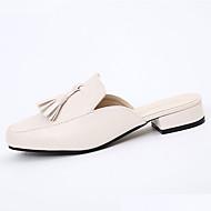 Damen Sandalen Komfort PU Frühling Sommer Normal Kleid Komfort Quaste Niedriger Absatz Schwarz Beige Unter 2,5 cm