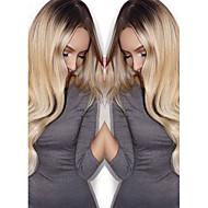 Naisten Synteettiset peruukit Suojuksettomat Pitkä Runsaat laineet Vaaleahiuksisuus Liukuvärjätyt hiukset Tummat juuret Luonnollinen