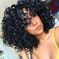 פאות קדמיות 9.א. שיער תחרה אנושי כיתה מתולתלת עם פאות תחרה קצרות בתולת שיער פרואניות צפיפות שיער תינוק 130% עבור אישה שחורה