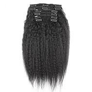 새로운 브라질 100 % 인간의 머리카락을 클립 아프로 곱슬 곱슬 클립 머리에 확장 기능 자연 블랙 색상 7 PC를 / 세트