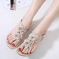 Ženske Sandale Ljeto Udobne cipele PU Formalne prilike Ravna potpetica Aplikacija