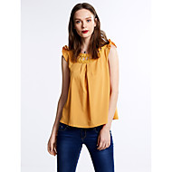 Women's Ruffle Solid Pink / White / Beige / Yellow Blouse,Round Neck Short Sleeve
