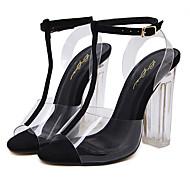 レディース サンダル 透明靴 ファッションブーツ ラバー 夏 ドレスシューズ 透明靴 ファッションブーツ クリスタルヒール チャンキーヒール ゴールド ブラック シルバー 4~4 3/4インチ