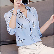 Women's Going out Casual/Daily Cute Blouse,Solid Floral Stand Long Sleeve Polyester