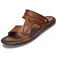 Men's Sandals Summer Comfort PU Outdoor Walking Flat Heel Khaki Brown