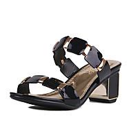 Women's Slippers & Flip-Flops Summer Fall Slingback PU Patent Leather Dress Casual Chunky Heel Split Joint Black White