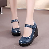 Dame-Lær-Kilehæl-Komfort-一脚蹬鞋、懒人鞋-Fritid-