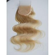Loira 613 laço encerado onda corporal vírgula brasileira remy cabelo humano laço encerado nodoso knotes 3.5x4 fechamento de renda de laço