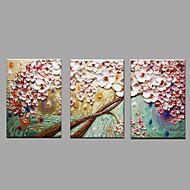 Kézzel festett Virágos / Botanikus Vízszintes,Rusztikus Európai stílus Három elem Vászon Hang festett olajfestmény For lakberendezési