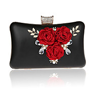 Women Bags All Seasons PVC Polyester Evening Bag with Flower for Wedding Event/Party Formal Gold Black Silver Red Rose Red