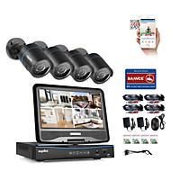 SANNCE® 4CH 4PCS 720P LCD  DVR Weatherproof Security System Supported Analog AHD TVI IP Camera Without HDD