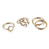 Kadın's Takı Seti Midi Yüzükler Evlilik Yüzükleri Eklem Yüzükleri Aşk Avrupa minimalist tarzı Kübik Zirconia Yapay Elmas alaşımHeart