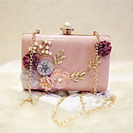 Women Bags All Seasons PU Evening Bag with Flower for Event/Party Party & Evening Date White Black Pale Pink khaki