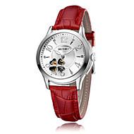 Dames Modieus horloge mechanische horloges Automatisch opwindmechanisme Leer Band Rood