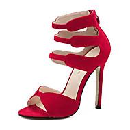Feminino Sandálias Flanelado Verão Rendado Salto Agulha Preto Vermelho 10 a 12 cm