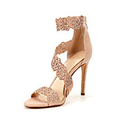 Women's Sandals Summer Leatherette Office & Career Dress Casual Party & Evening Stiletto Heel Sparkling GlitterBlack Silver/Black Light