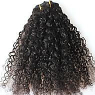 cara hair afro 인간의 머리카락에 곱슬 곱슬 함 클립 확장 천연 브라질 처녀 머리 클립에 전체 머리 7pcs / set 12-24 인치