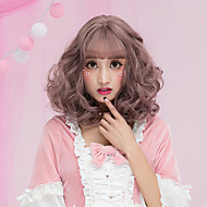 Women Short Dark Brown Chestnut Brown Ash Brown Brown Grey Curly Wavy Middle Part With Bangs Synthetic Hair CaplessHalloween Wig Carnival