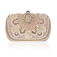 Women Evening Bag Polyester All Seasons Formal Event/Party Wedding Minaudiere Imitation Pearl Crystal/ Rhinestone Clasp LockBlack White