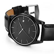 男性用 ファッションウォッチ 機械式時計 自動巻き カレンダー 耐水 レザー バンド ブラック