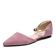 Для женщин Сандалии Удобная обувь Полиуретан Весна Удобная обувь На плоской подошве Белый Черный Розовый На плоской подошве
