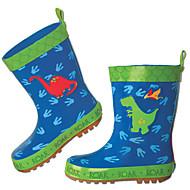 בנות שטוחות צעדים ראשונים PVC אביב סתיו שטח יומיומי הליכה מגפי גשם סקוטש עקב נמוך כחול כהה אדום ורוד שטוח